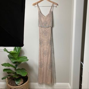 New! Adrianna Papell Blouson beaded gown size 8
